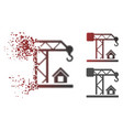 dissipated dot halftone construction crane icon vector image vector image