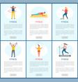 fitness activities people in gym website set vector image vector image