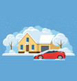 flat panorama small house under snow and car vector image