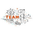 Flat Style Thin Line Art Design Set of team vector image
