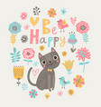 floral card with cat vector image vector image