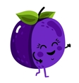 Funny fruit plum isolated cartoon character vector image vector image