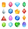 Gems and diamonds icons set in different colors vector image vector image