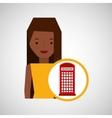 Girl cartoon travel london box red telephone
