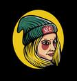 girl wearing beanie hat vector image