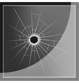 Glass plate with bullet hole vector image