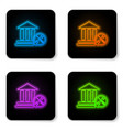 glowing neon bank building with screwdriver and vector image vector image