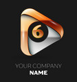 golden number six logo in golden-silver triangle vector image vector image