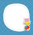 greeting card with cartoon piglet greeting card vector image vector image