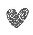 hand drawn scandinavian velentines day heart with vector image