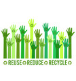 hands with green recycle sign vector image