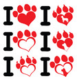 i love paw print logo design 01 collection vector image vector image
