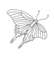 isolated black and white butterfly on a white vector image