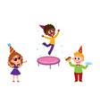 kids jump blow whistle eat birthday cake vector image