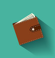 leather wallet with banknotes vector image