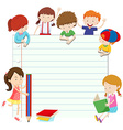 Line paper design with boys and girls vector image vector image
