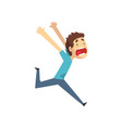 panicked young man running and screaming vector image vector image