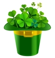 Patrick hat full of clover Patrick green hat with vector image