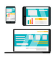 phone laptop tablet web site flat vector image vector image