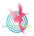 pink bird with four blue circles and blank text vector image vector image