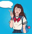 pop art japanese school girl in uniform vector image vector image