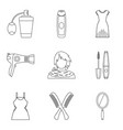 pullet icons set outline style vector image vector image