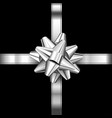 realistic silver bow decoration on white vector image vector image