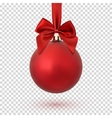 Red Christmas ball on transparent background vector image vector image