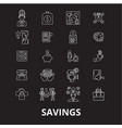 savings editable line icons set on black vector image vector image