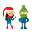 set of walking young teenages in winter clothes vector image vector image