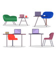 set office furniture tables chairs or vector image