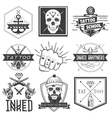 set tattoo school emblems logos vector image