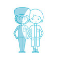 silhouette woman and man doctors with their vector image vector image