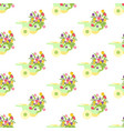 spring flowers in wheelbarrow seamless pattern vector image