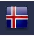 Square icon with flag of Iceland vector image vector image