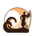 Summer label with surfboard vector | Price: 1 Credit (USD $1)