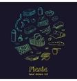 Summer picnic doodle set Various meals drinks vector image