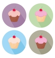 Sweet cake flat icon set isolated on white vector image vector image