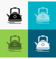 tea kettle teapot camping pot icon over various vector image