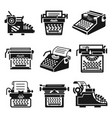 typewriter icon set simple style vector image