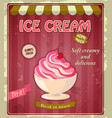 Vintage banner with cherry ice cream vector image