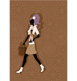walking young woman silhouette vector image vector image