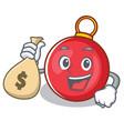 with money bag christmas ball character cartoon vector image vector image