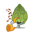 with trumpet artichoke mascot cartoon style vector image vector image