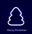 shiny christmas tree on dark blue background vector image