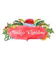 Watercolor beautiful Christmas card vector image