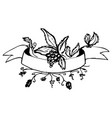 sketch decoration ribbon with branch berry vector image
