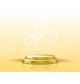 3d golden podium with spotlight and bokeh vector image