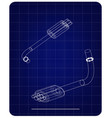 3d model of the exhaust pipe on a blue vector image vector image