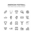 american football rugby flat line icons vector image vector image